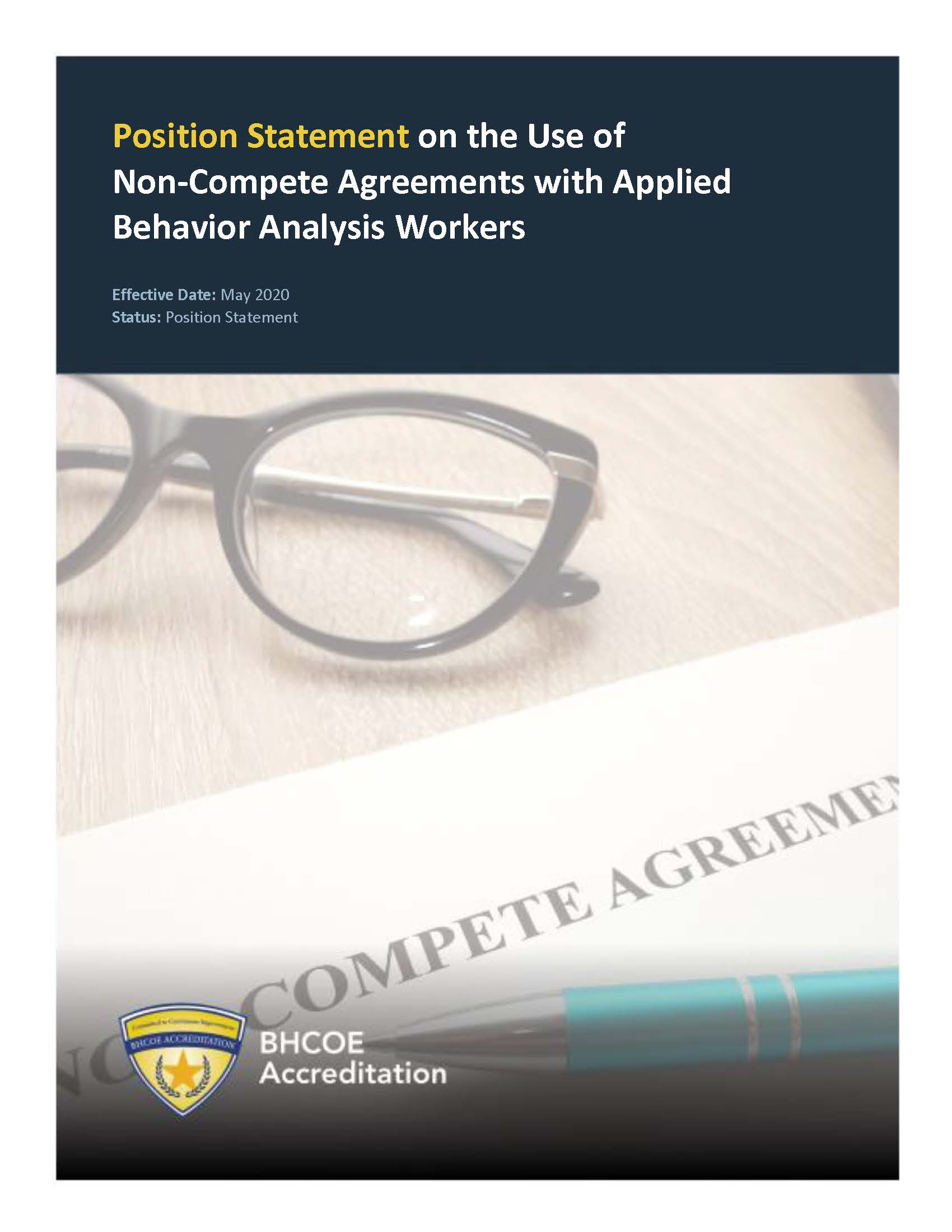 Position Statement on the Use of Non-Compete Agreements with Applied Behavior Analysis Workers