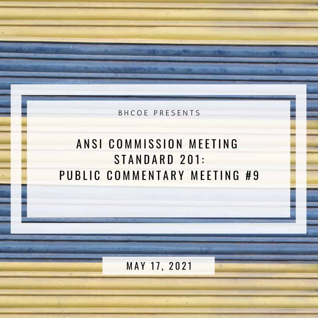 ANSI Commission Meeting Standard 201: Public Commentary Meeting #9